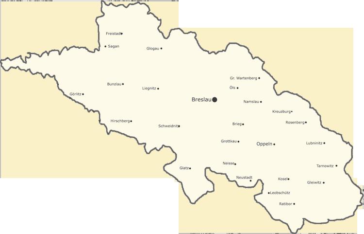 Karten von Schlesien, Lage der Städte