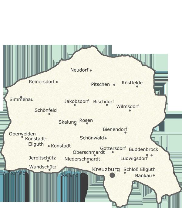 Kreis Kreuzburg im Regierungsbezirk Oppeln / Lage der Orte